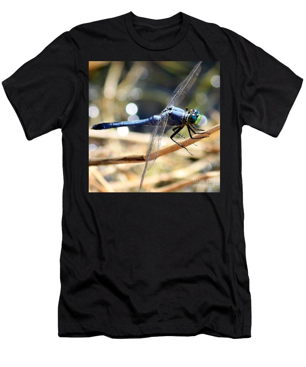 Dragonfly Men's T-Shirt (Athletic Fit) featuring the photograph Sunning Blue Dragonfly Square by Carol Groenen