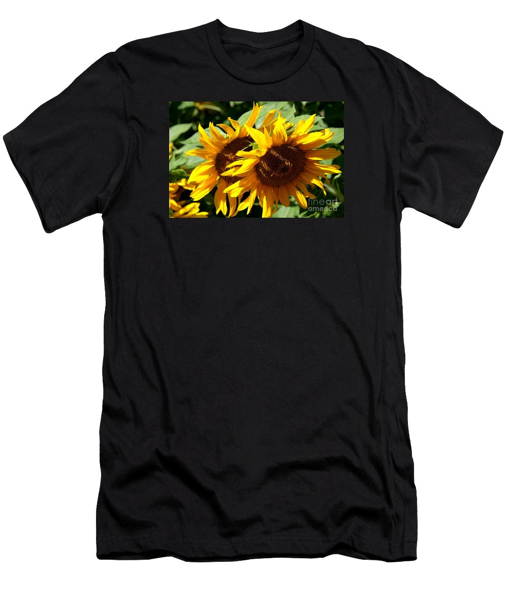 Sunflower Men's T-Shirt (Athletic Fit) featuring the photograph Sunny Sisters by Christiane Schulze Art And Photography
