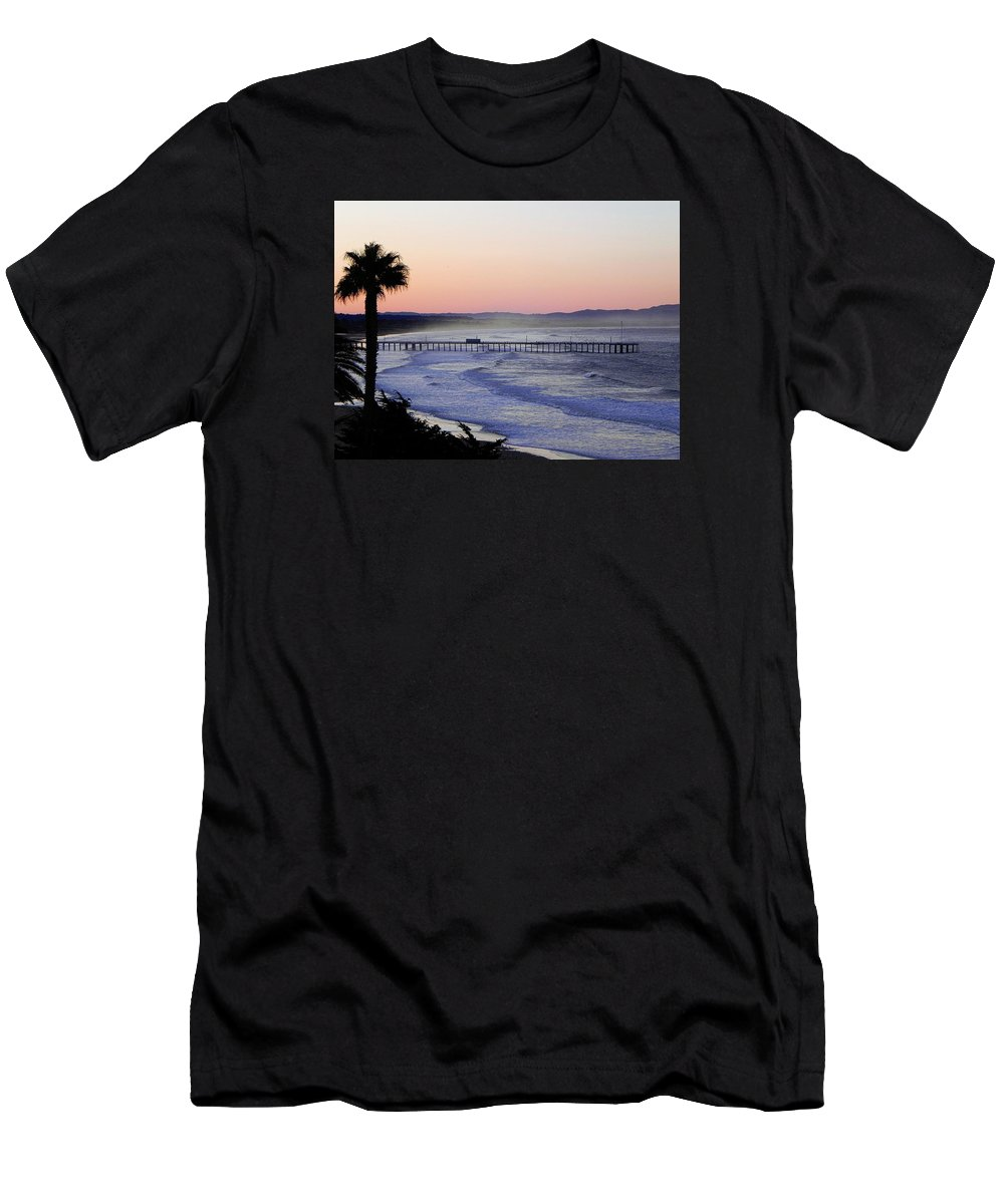 Sunrise Men's T-Shirt (Athletic Fit) featuring the photograph Sunrise At Pismo Beach by Kathy Churchman
