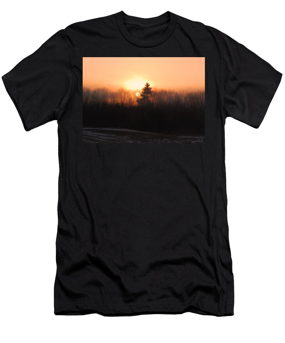 Sunrise Men's T-Shirt (Athletic Fit) featuring the photograph Sunrise At Willow Pond by Amy Porter
