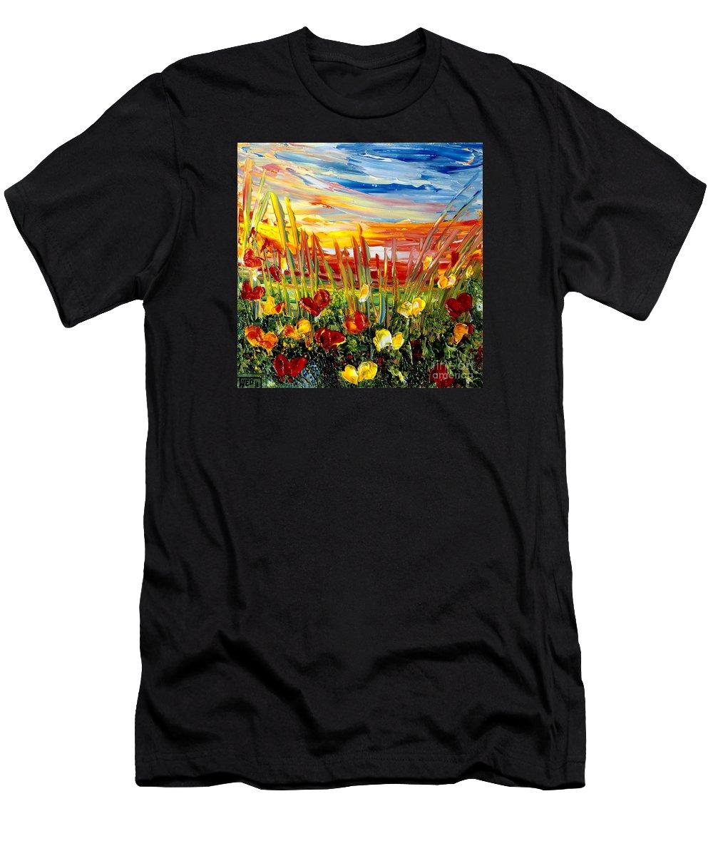 Sunrise Men's T-Shirt (Athletic Fit) featuring the painting Sunrise Meadow  by Teresa Wegrzyn