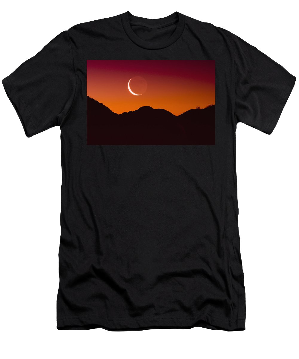 Orange Men's T-Shirt (Athletic Fit) featuring the photograph Sunrise Over A Mountain Range In Joshua by Brian Guzzetti