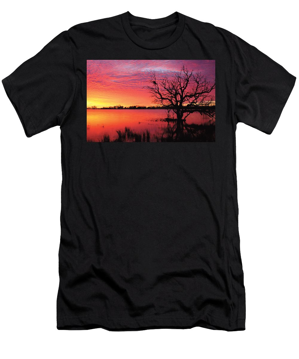 Panorama Men's T-Shirt (Athletic Fit) featuring the photograph Sunrise Over Coongee Lakes by Paul Whitehead