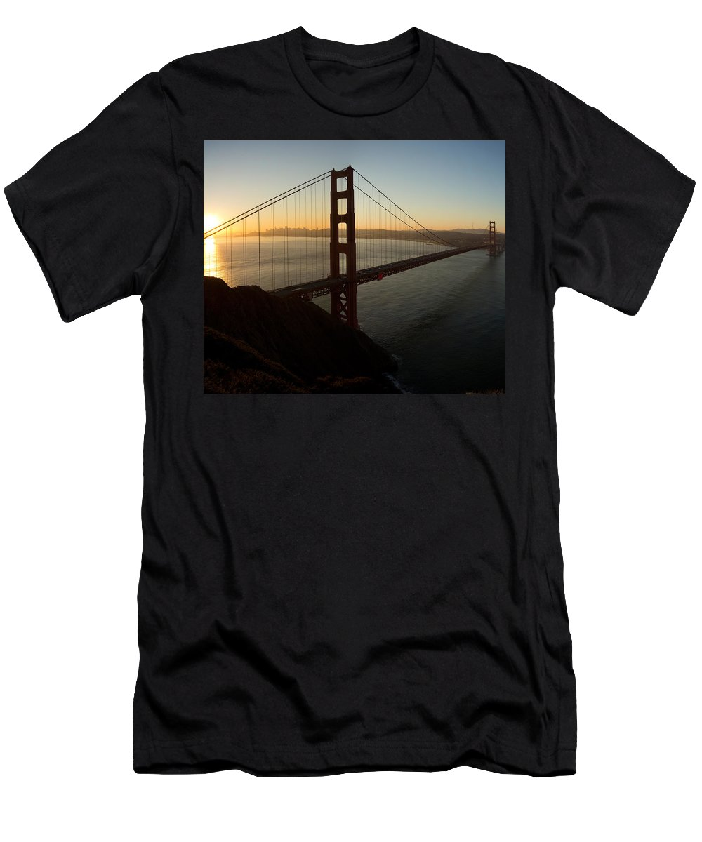 Sunrise Men's T-Shirt (Athletic Fit) featuring the photograph Sunrise Over Golden Gate Bridge And San Francisco Bay by Jit Lim