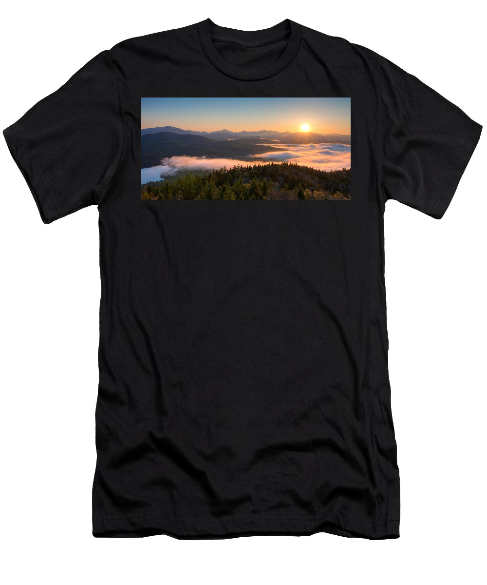 Photography Men's T-Shirt (Athletic Fit) featuring the photograph Sunrise Over The Adirondack High Peaks by Panoramic Images