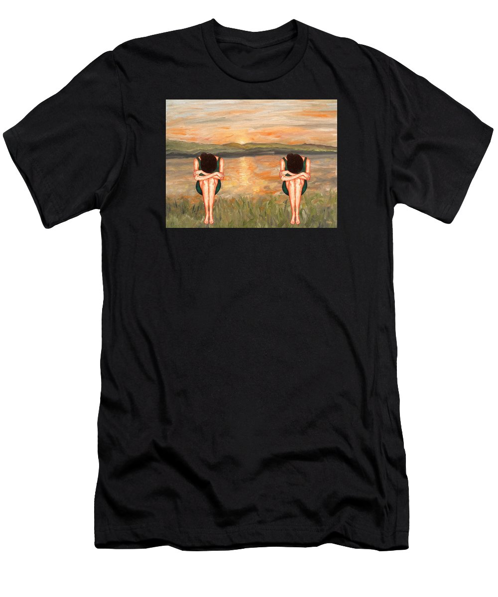 Scenery Men's T-Shirt (Athletic Fit) featuring the painting Sunrise by Patrick J Murphy