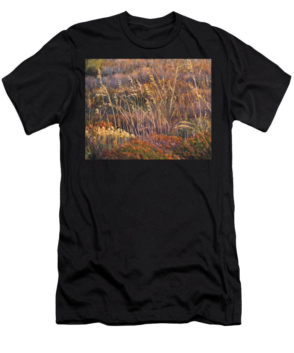 Grass Men's T-Shirt (Athletic Fit) featuring the painting Sunrise Reflections On Dried Grass by Marco Busoni