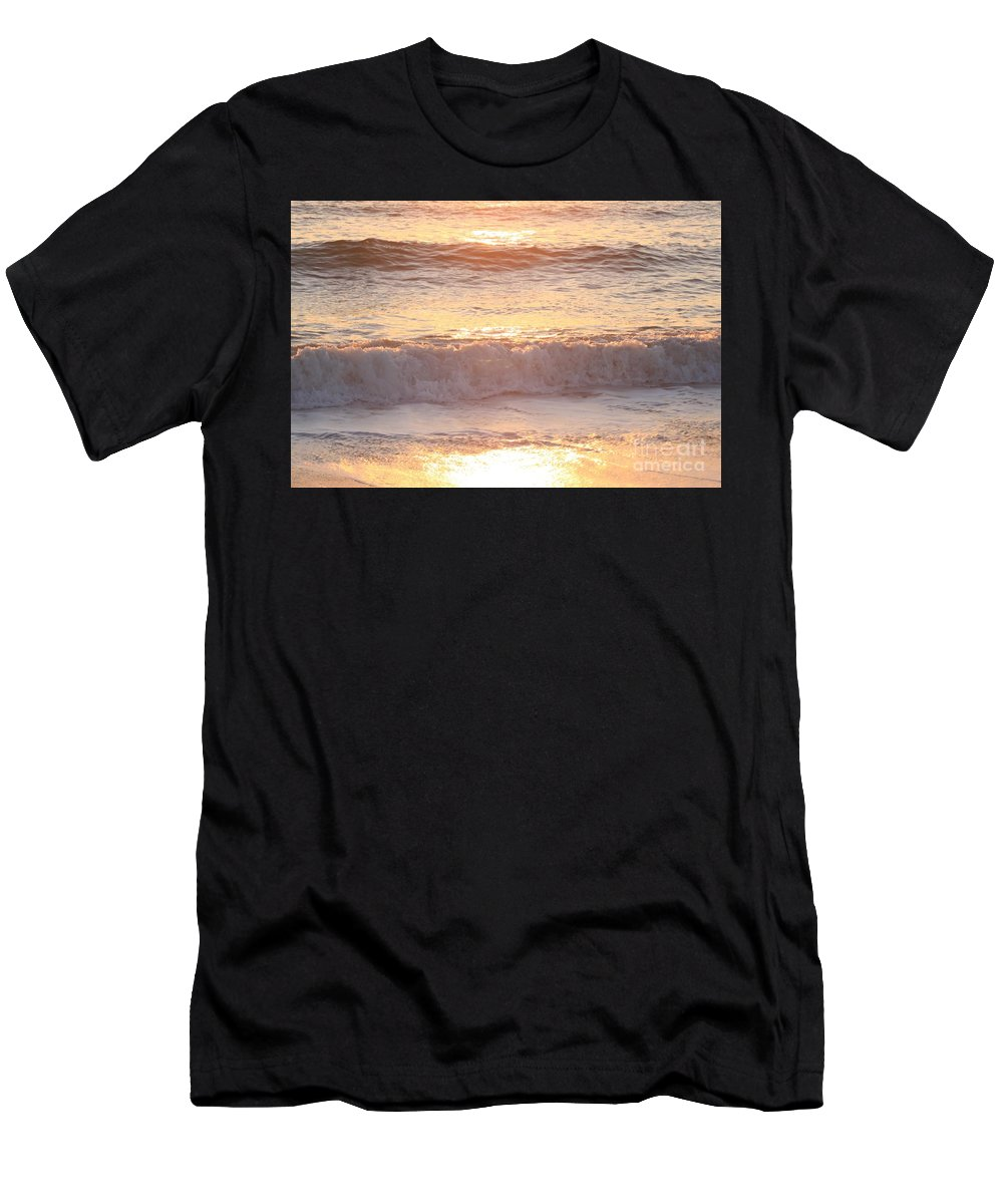 Waves Men's T-Shirt (Athletic Fit) featuring the photograph Sunrise Waves by Nadine Rippelmeyer