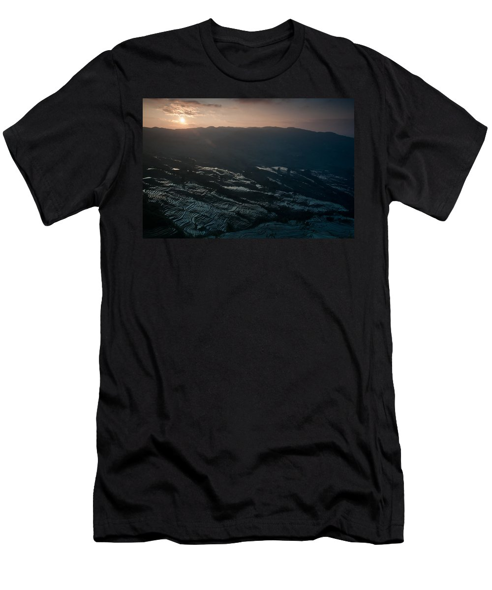 Agriculture Men's T-Shirt (Athletic Fit) featuring the photograph Sunset And Rice Terrace by Kim Pin Tan