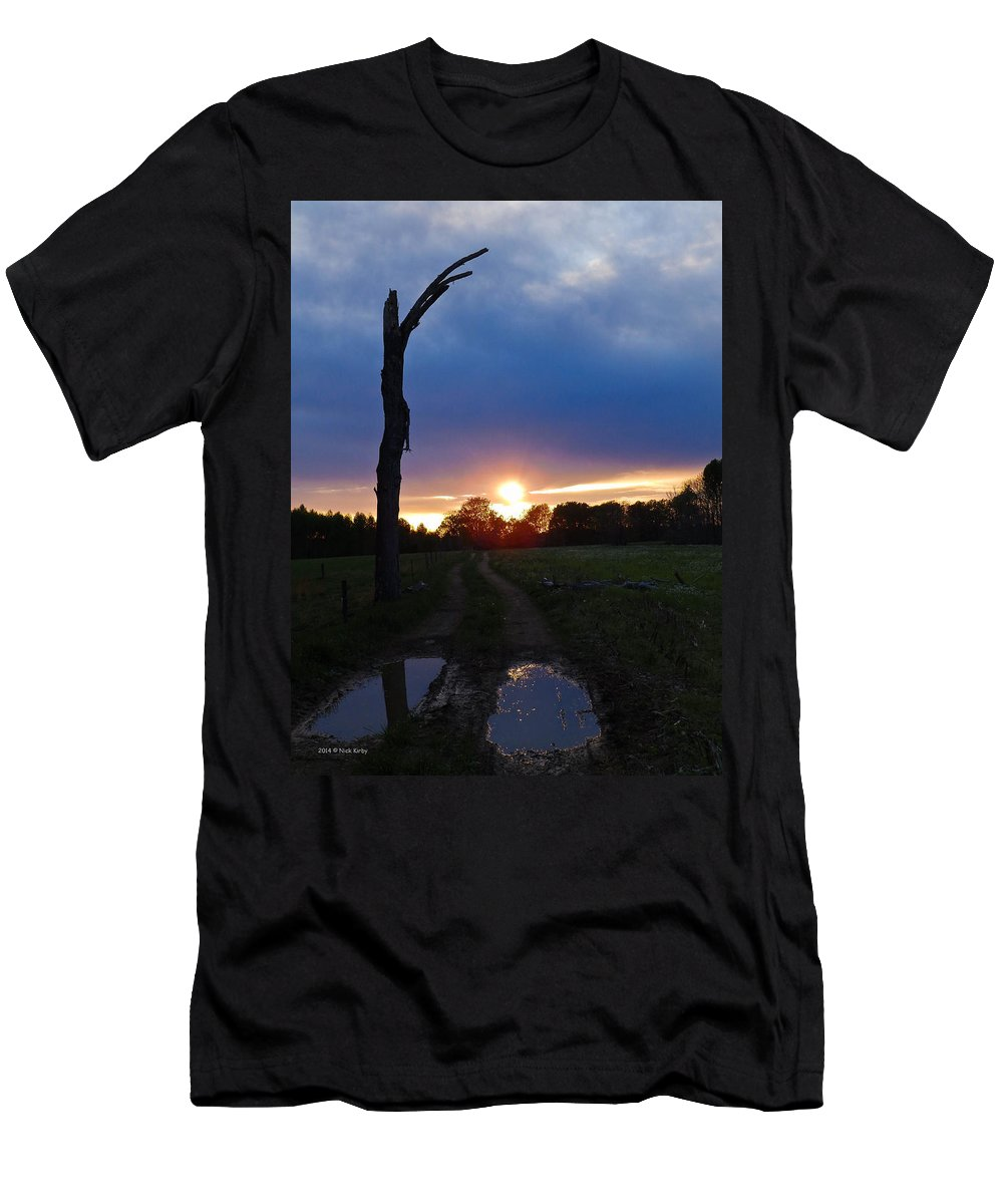 Sunset Men's T-Shirt (Athletic Fit) featuring the photograph Sunset And The Dead Tree by Nick Kirby
