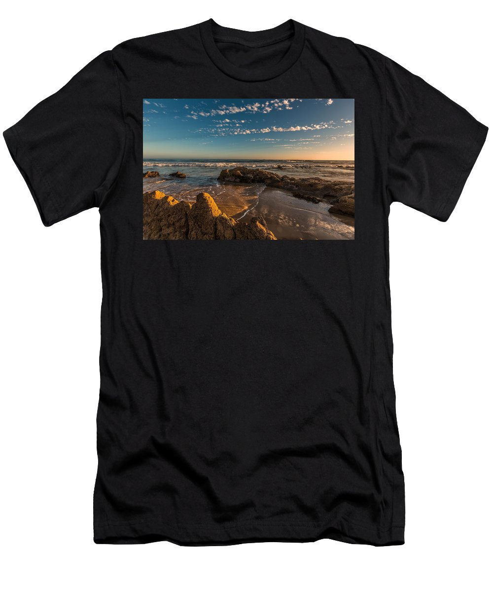 Crystal Cove Men's T-Shirt (Athletic Fit) featuring the photograph Sunset At Crystal Cove 12 by Angela Stanton