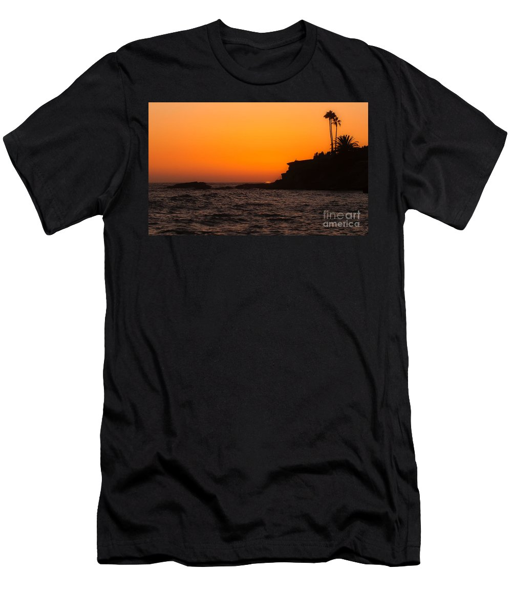 Laguna Beach Men's T-Shirt (Athletic Fit) featuring the photograph Sunset At Laguna Beach by Traci Law