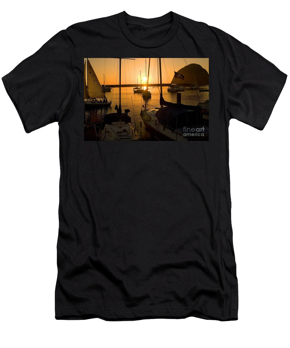 Sunset Men's T-Shirt (Athletic Fit) featuring the photograph Sunset At Morro Bay by Timothy Hacker
