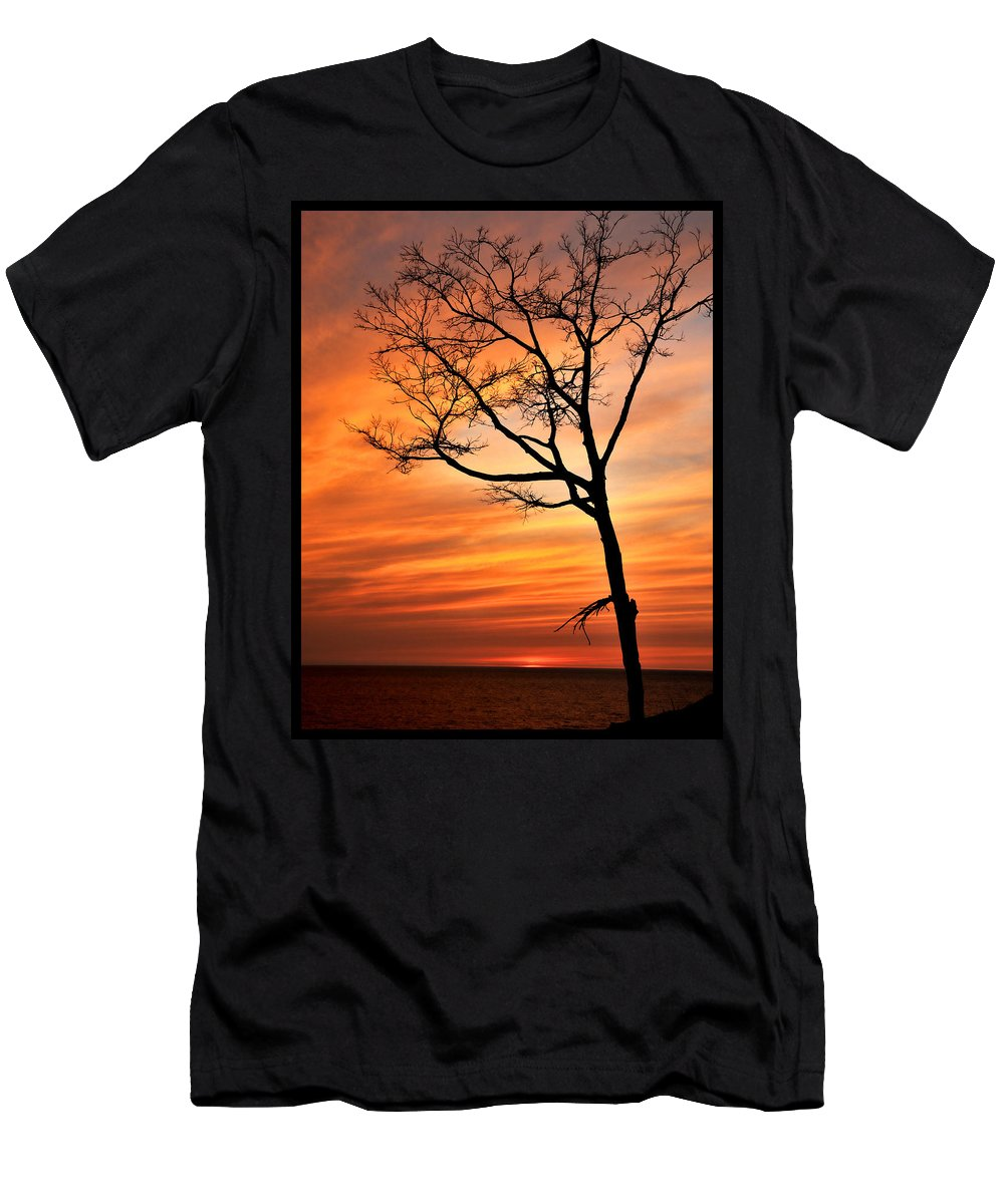 Dunes Men's T-Shirt (Athletic Fit) featuring the photograph Sunset At Warren Dunes by Gene Tatroe