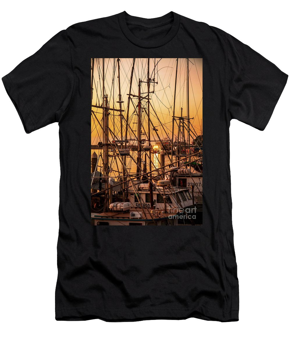 Sunset Boat Dock Men's T-Shirt (Athletic Fit) featuring the photograph Sunset Boat Masts At Dock Morro Bay Marina Fine Art Photography Print Sale by Jerry Cowart