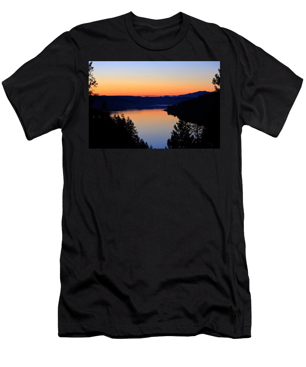 Sunset Men's T-Shirt (Athletic Fit) featuring the photograph Sunset From The Deck by Edward Hawkins II
