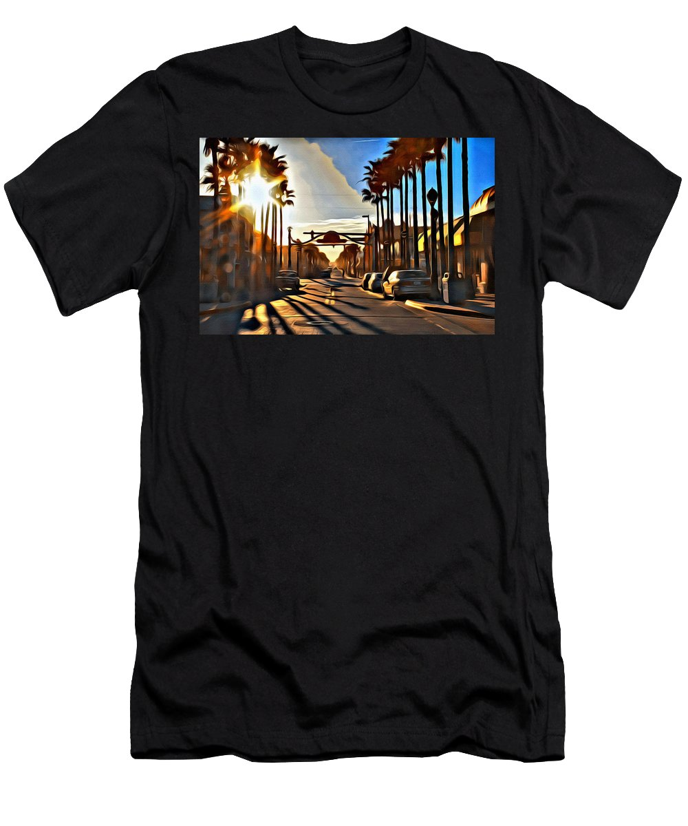 Daytona Beach Sunset Scenic Men's T-Shirt (Athletic Fit) featuring the photograph Sunset In Daytona Beach by Alice Gipson