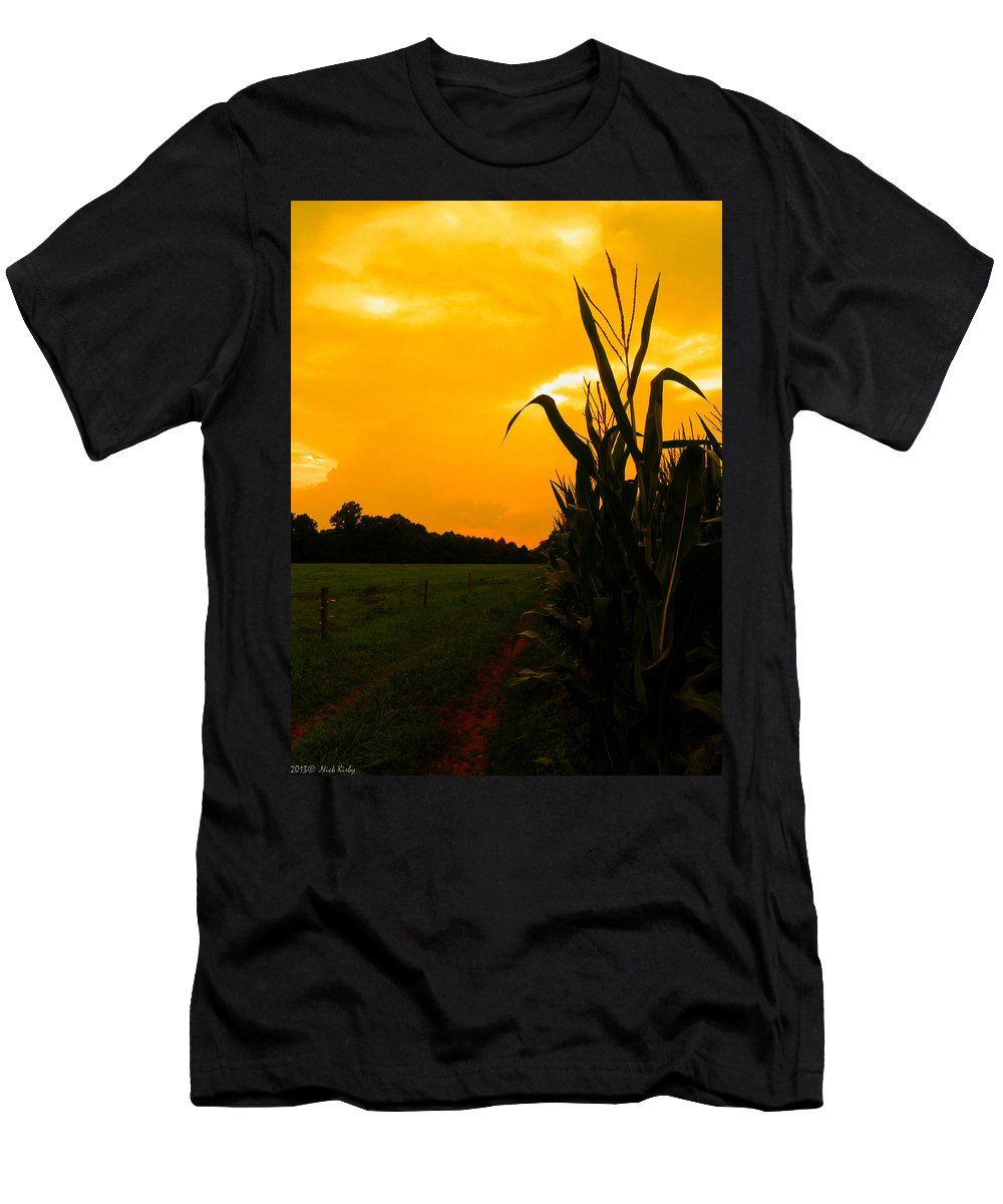 Corn Men's T-Shirt (Athletic Fit) featuring the photograph Sunset In The Cornfield by Nick Kirby