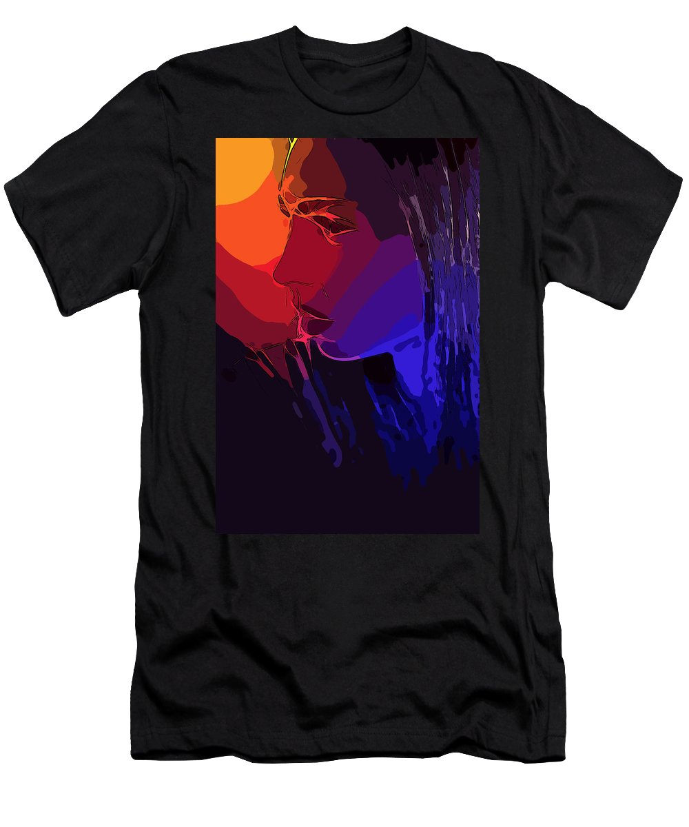 Sun Sunset Face Woman Girl Female Lips Portrait Expressionism Comic Style Pop Art Men's T-Shirt (Athletic Fit) featuring the painting Sunset In Your Face by Steve K