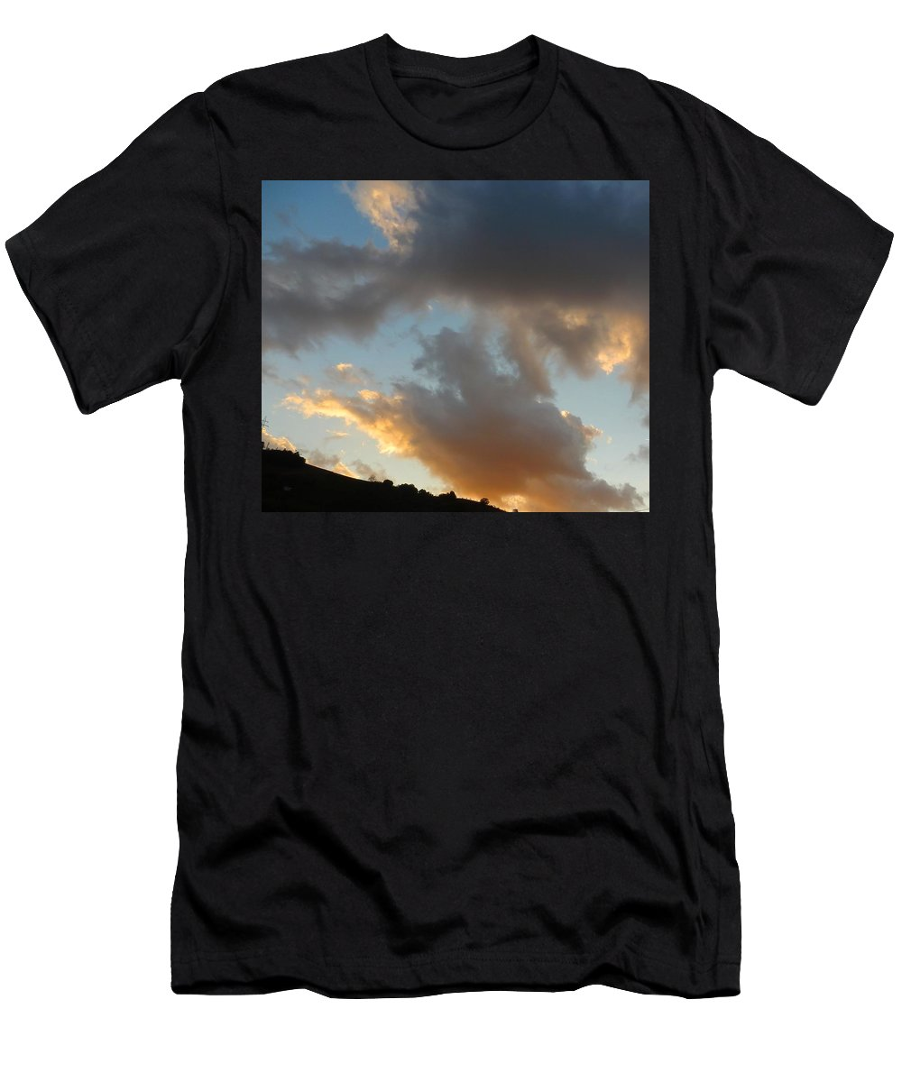 Clouds Men's T-Shirt (Athletic Fit) featuring the photograph Sunset by Maria Karalyos