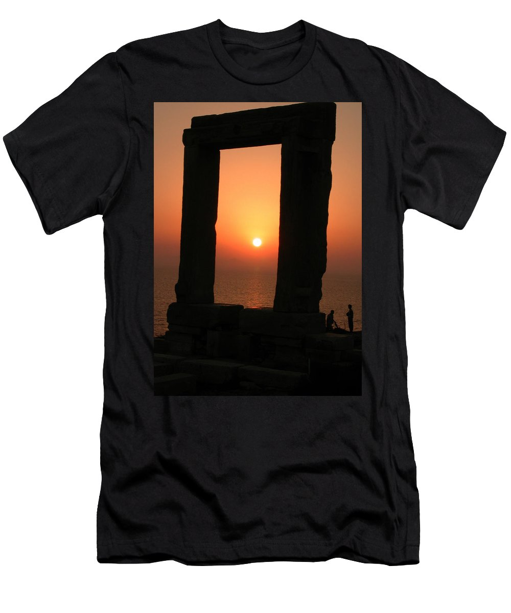 Coletteguggenheim Men's T-Shirt (Athletic Fit) featuring the photograph Sunset On Naxos Island Greece by Colette V Hera Guggenheim