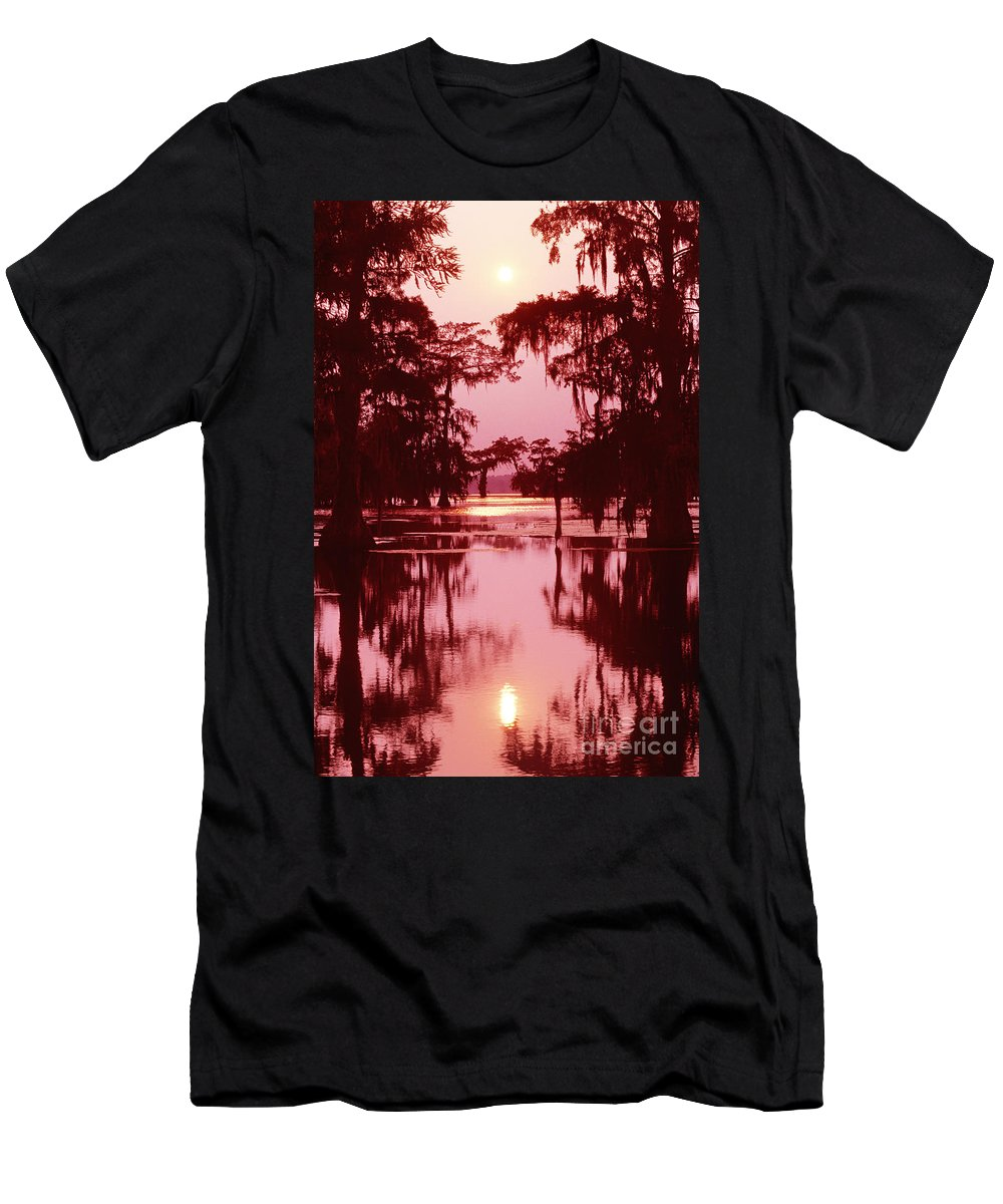 North America Men's T-Shirt (Athletic Fit) featuring the photograph Sunset On The Bayou Atchafalaya Basin Louisiana by Dave Welling
