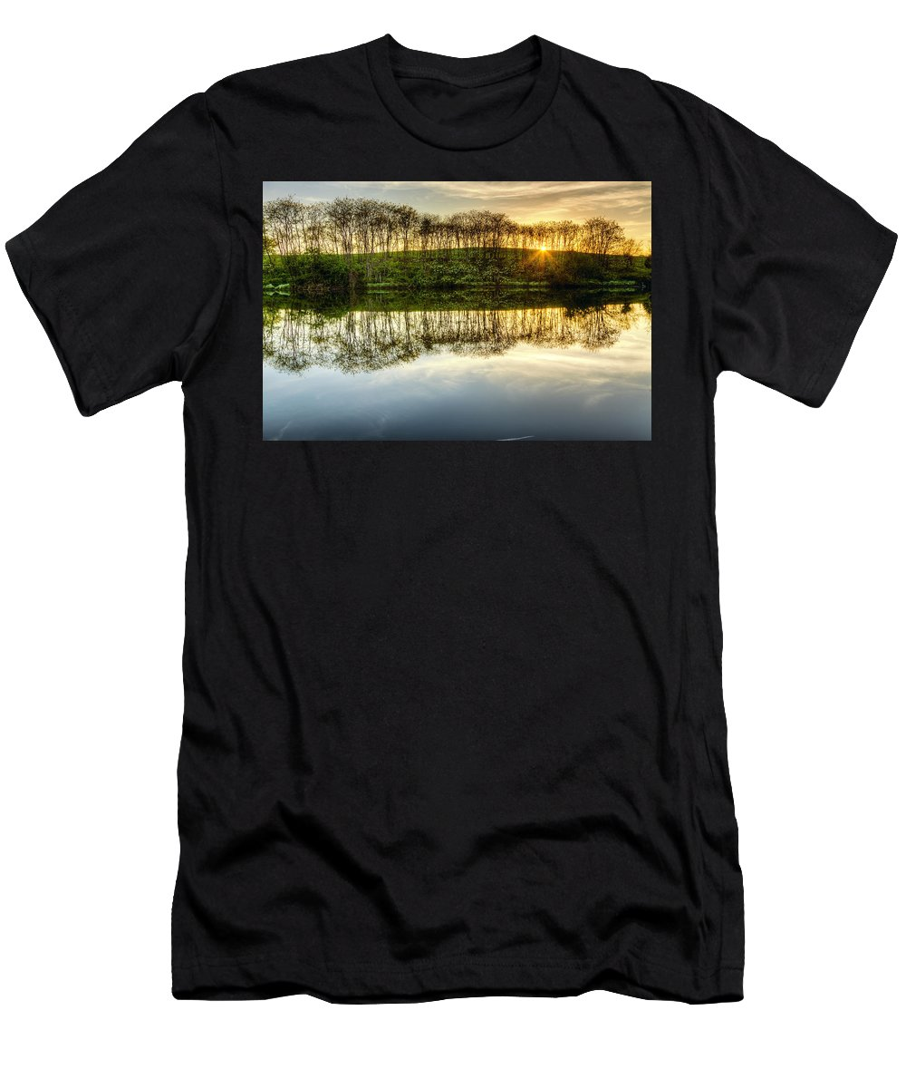 Lake Men's T-Shirt (Athletic Fit) featuring the photograph Sunset On The Lake by Alexey Stiop