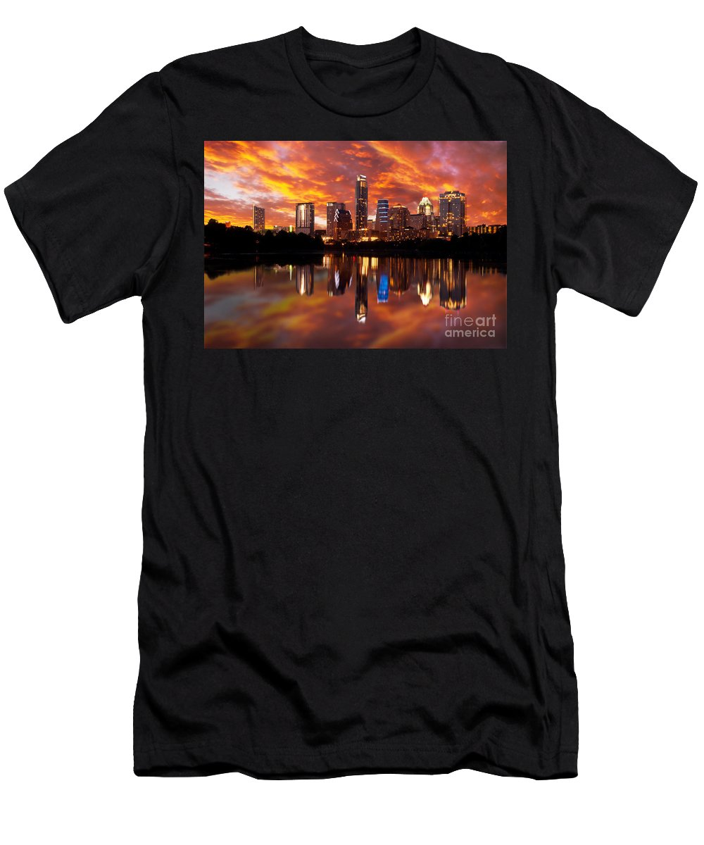 Austin Men's T-Shirt (Athletic Fit) featuring the photograph Sunset Over Austin by Randy Smith