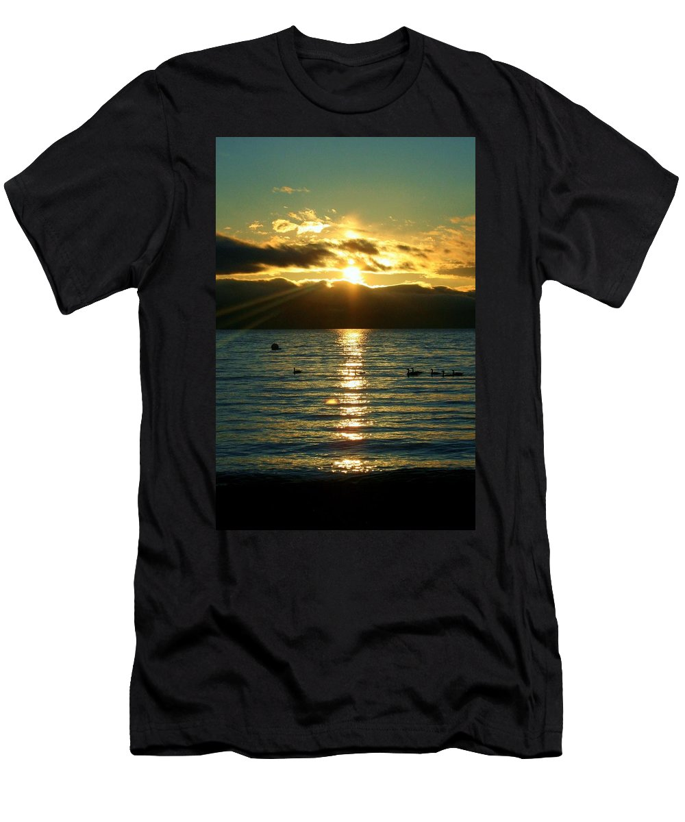 Sunset Men's T-Shirt (Athletic Fit) featuring the photograph Sunset Over Lake Tahoe by Ellen Heaverlo