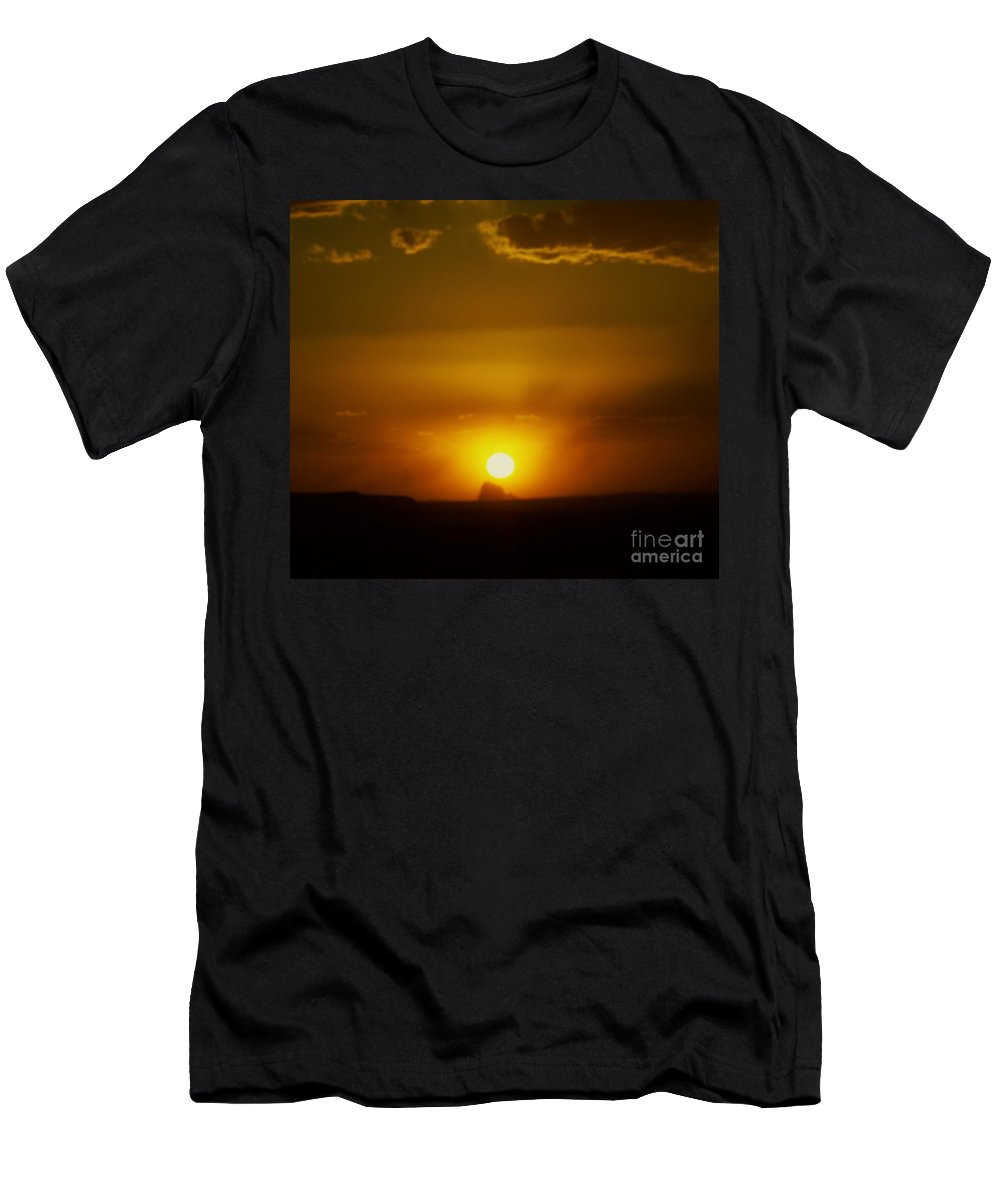 Shiprock Men's T-Shirt (Athletic Fit) featuring the photograph Sunset Over Shiprock by Jewell McChesney