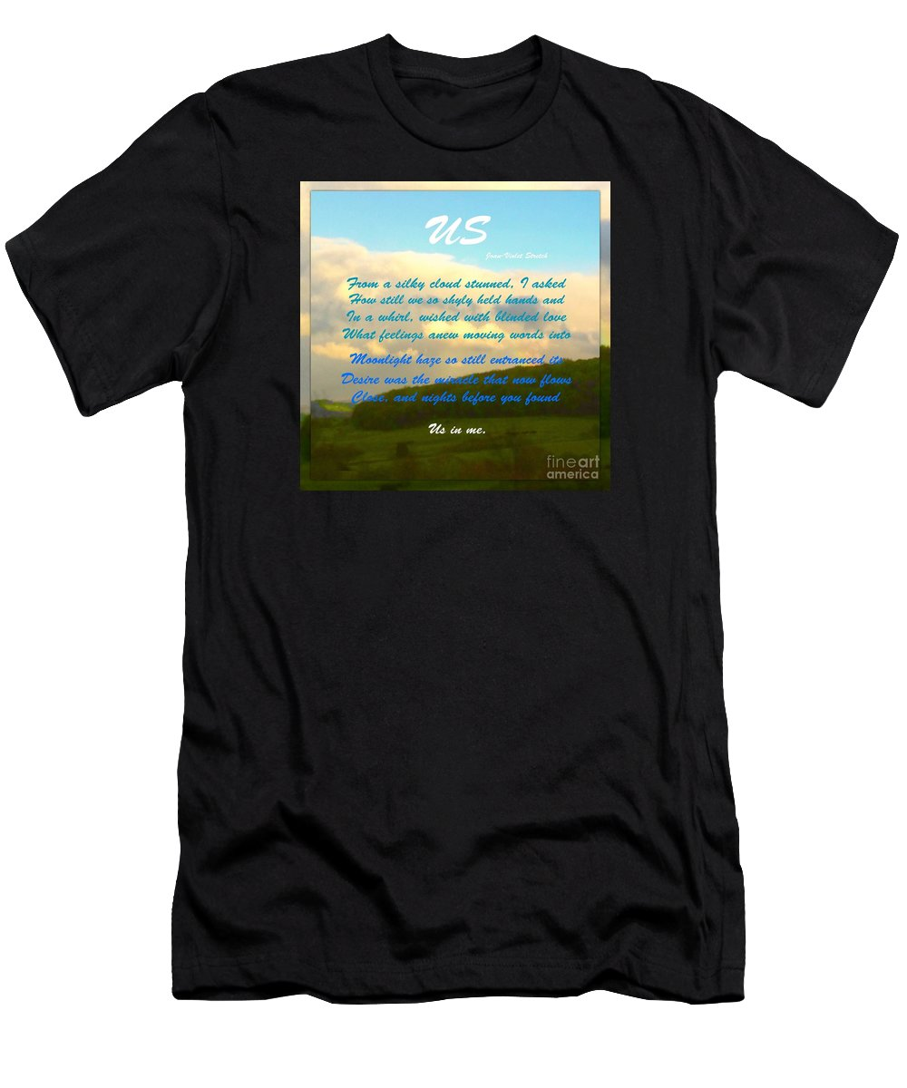Sunset Men's T-Shirt (Athletic Fit) featuring the photograph Sunset Over The Dales With Poem by Joan-Violet Stretch