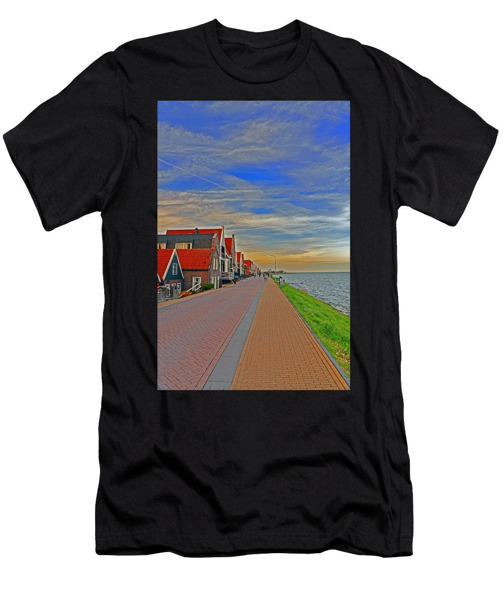 Travel Men's T-Shirt (Athletic Fit) featuring the photograph Sunset Over Volendam by Elvis Vaughn