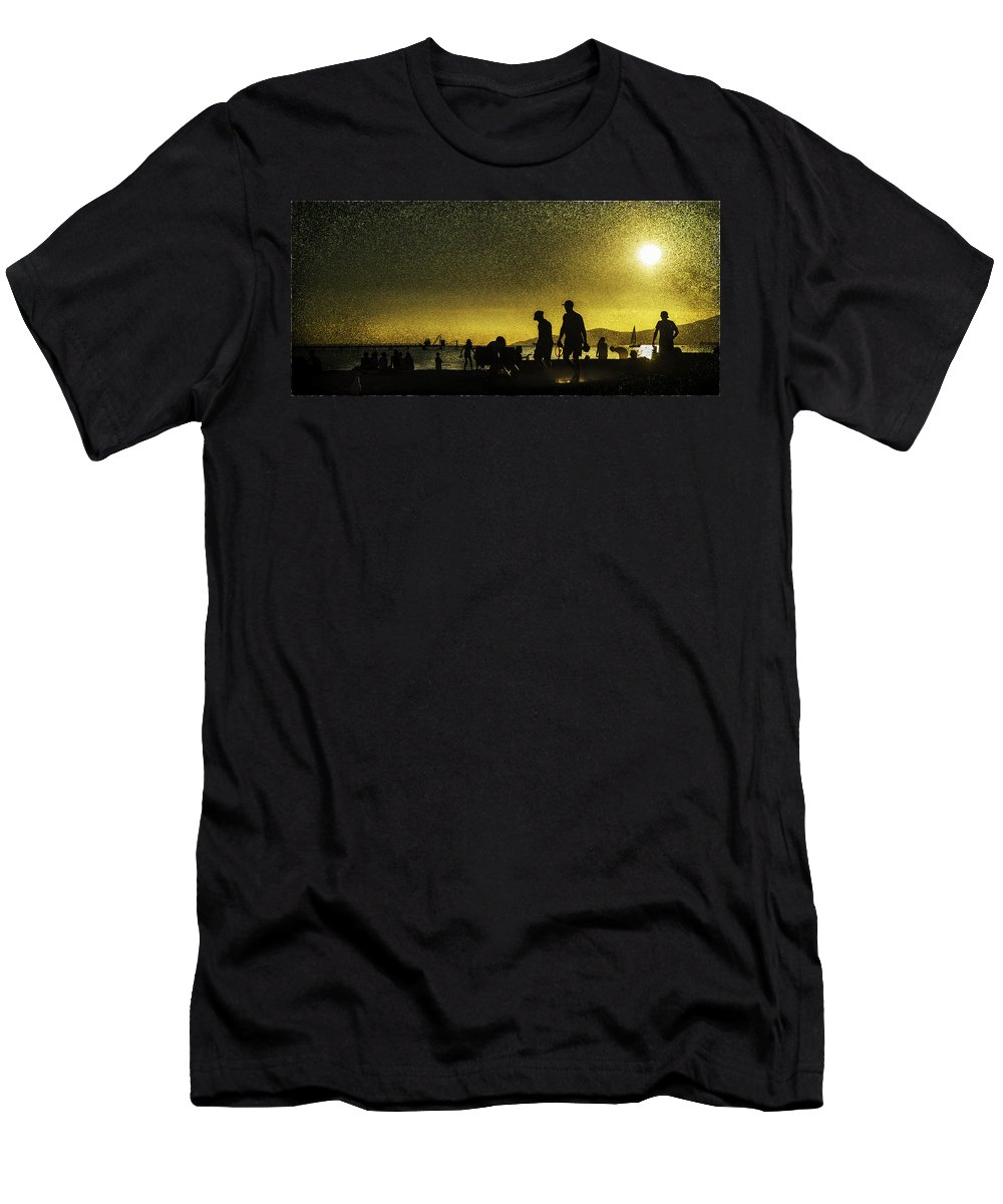 Back Lit Men's T-Shirt (Athletic Fit) featuring the photograph Sunset Silhouette Of People At The Beach by Peter v Quenter