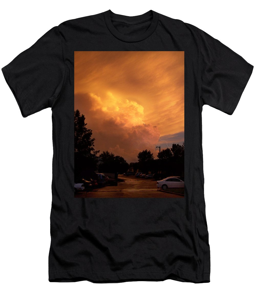 Sunset Men's T-Shirt (Athletic Fit) featuring the photograph Sunset Storm by Nick Mosher