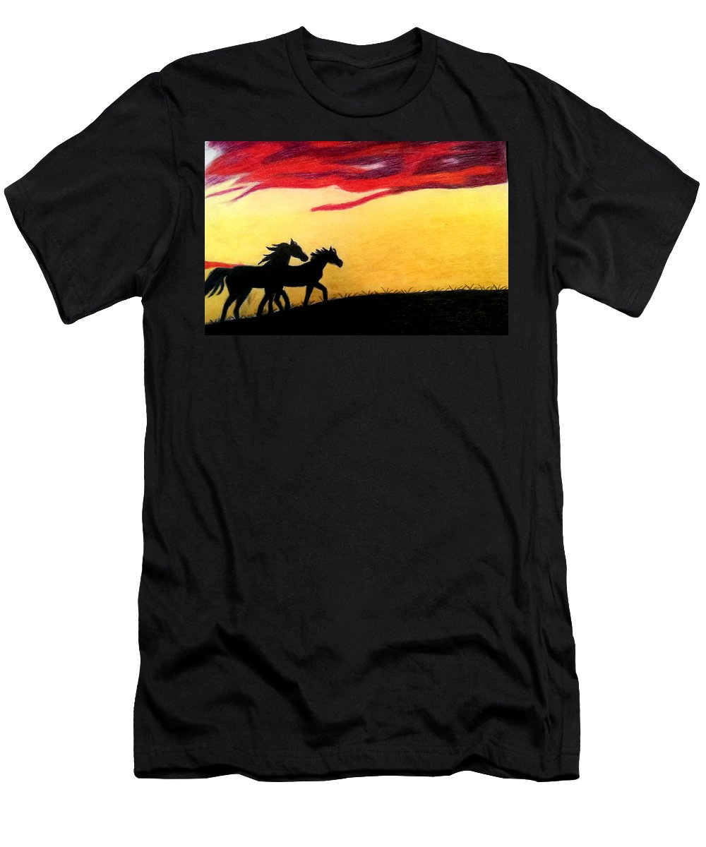 Horse Men's T-Shirt (Athletic Fit) featuring the pastel Sunset Stroll by Connie Blevins
