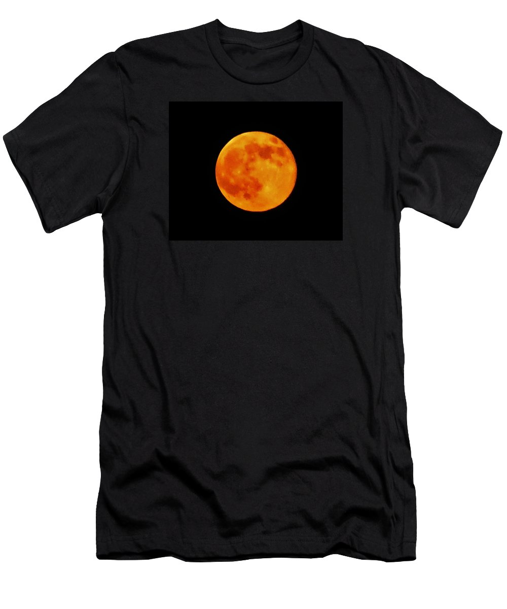 Full Moon Men's T-Shirt (Athletic Fit) featuring the photograph Super Moon Hatteras Island 7/12/2014 by Mark Lemmon