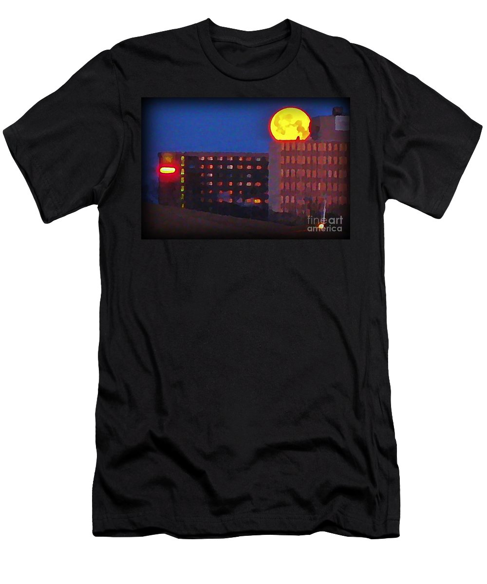 Super Moon In Halifax Nova Scotia Men's T-Shirt (Athletic Fit) featuring the painting Super Moon In Halifax Nova Scotia by John Malone