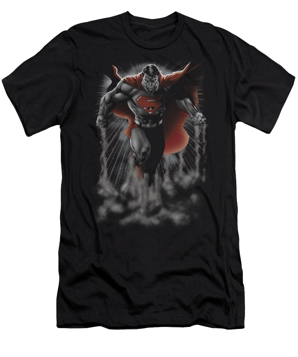 T-Shirt featuring the digital art Superman - Above The Clouds by Brand A