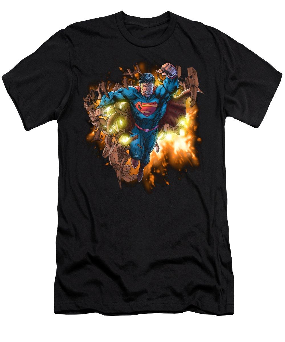 T-Shirt featuring the digital art Superman - Blasting Through by Brand A