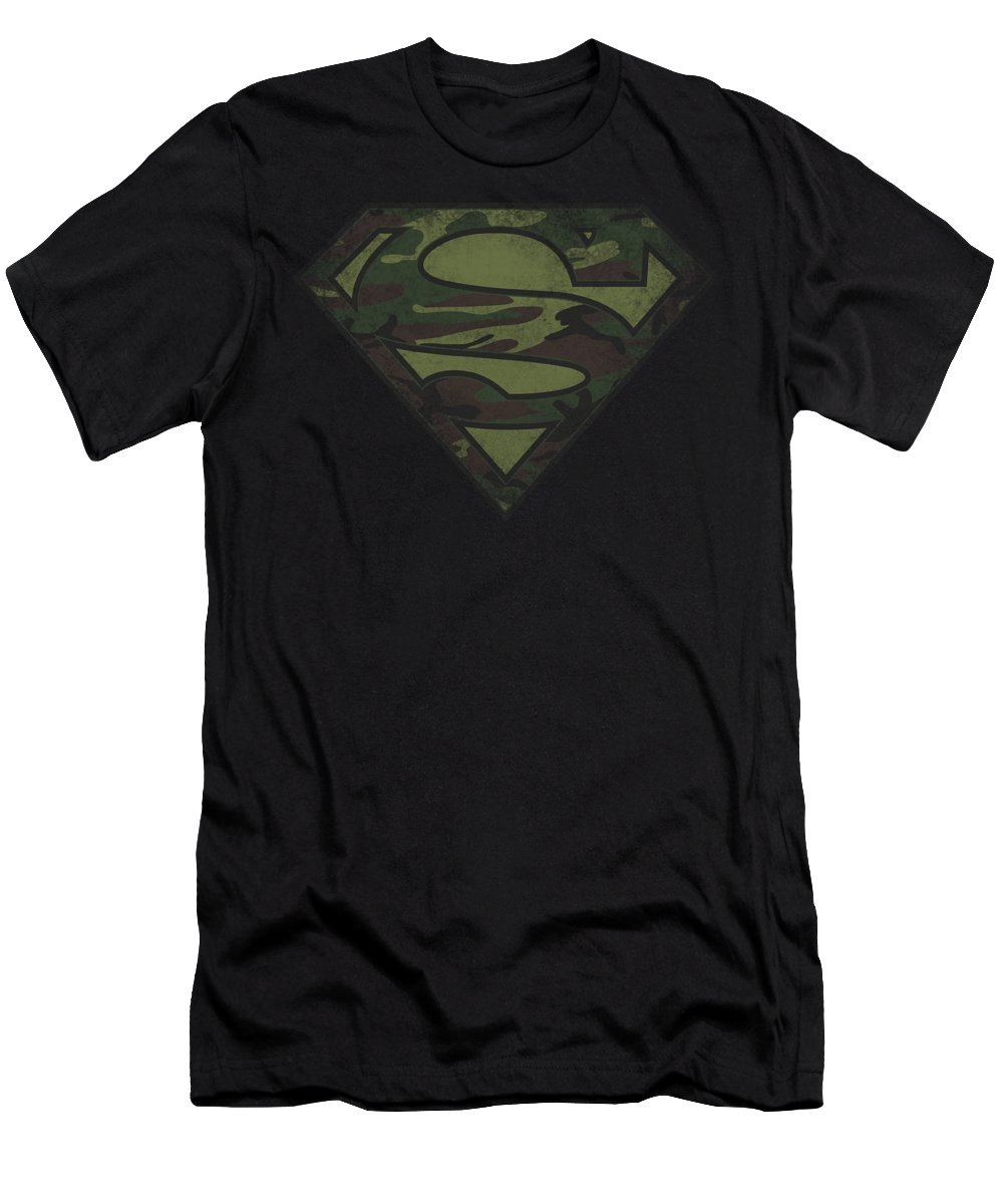 Superman T-Shirt featuring the digital art Superman - Camo Logo Distressed by Brand A