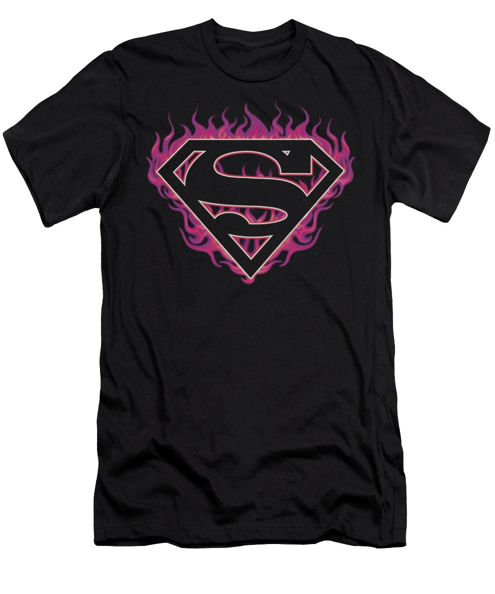 Superman T-Shirt featuring the digital art Superman - Fuchsia Flames by Brand A