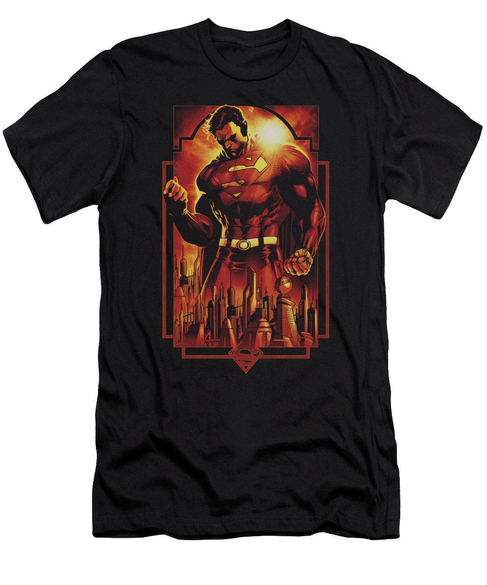 Superman T-Shirt featuring the digital art Superman - Metropolis Deco by Brand A