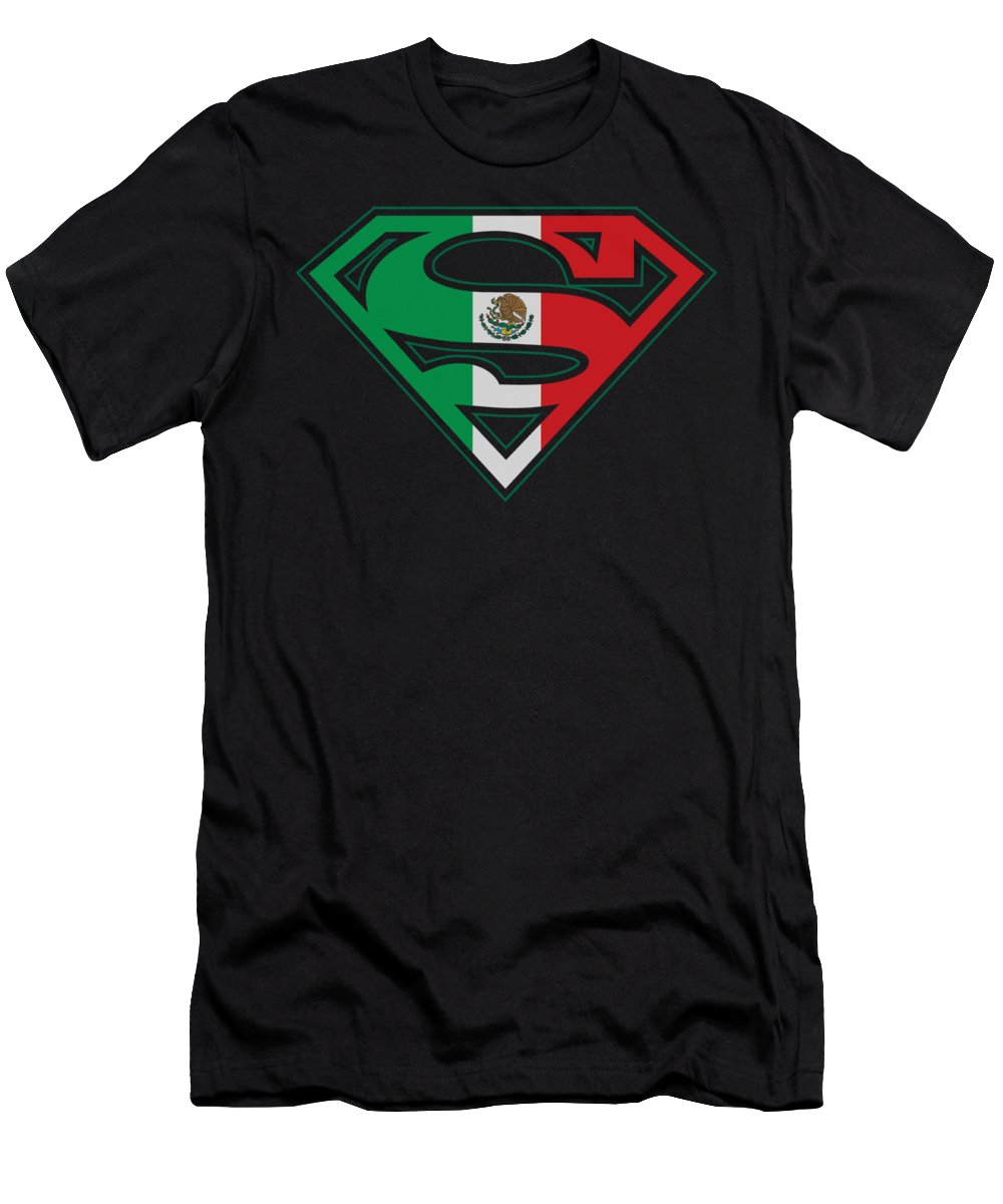Superman T-Shirt featuring the digital art Superman - Mexican Flag Shield by Brand A