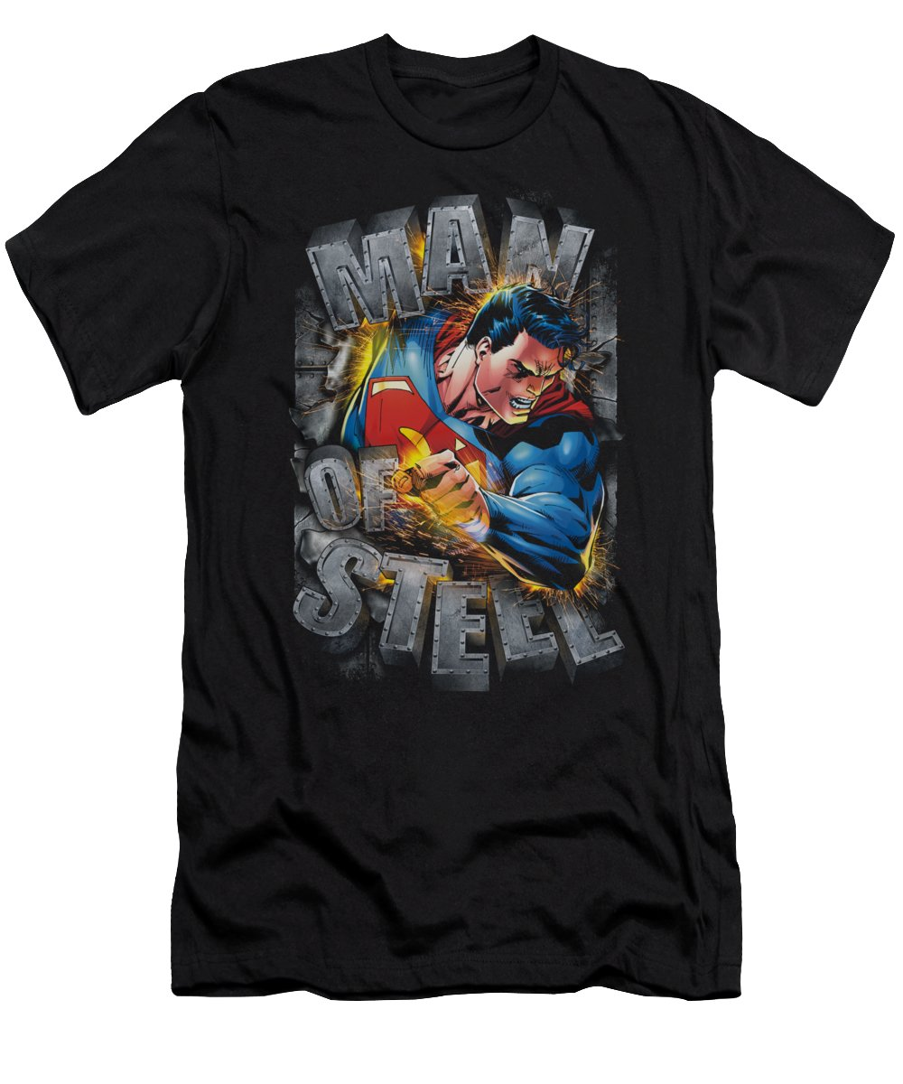 Superman T-Shirt featuring the digital art Superman - Ripping Steel by Brand A