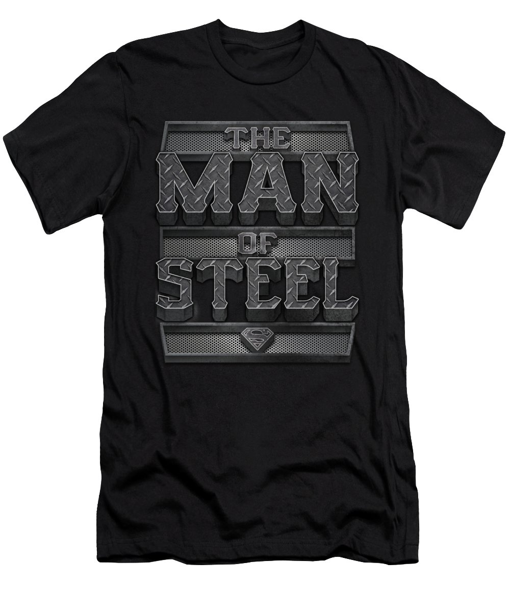 Superman T-Shirt featuring the digital art Superman - Steel Text by Brand A