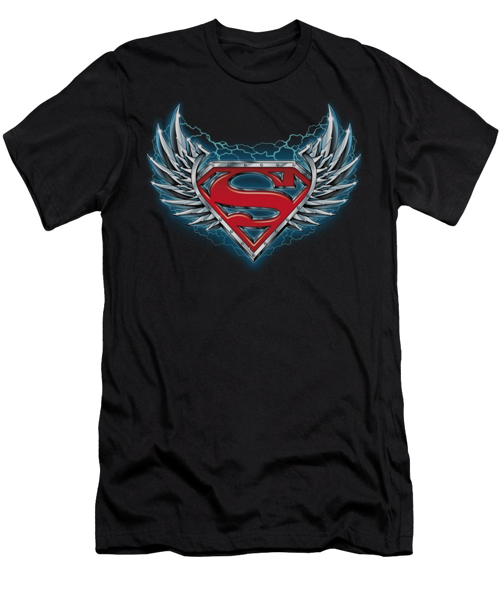 Superman T-Shirt featuring the digital art Superman - Steel Wings Logo by Brand A