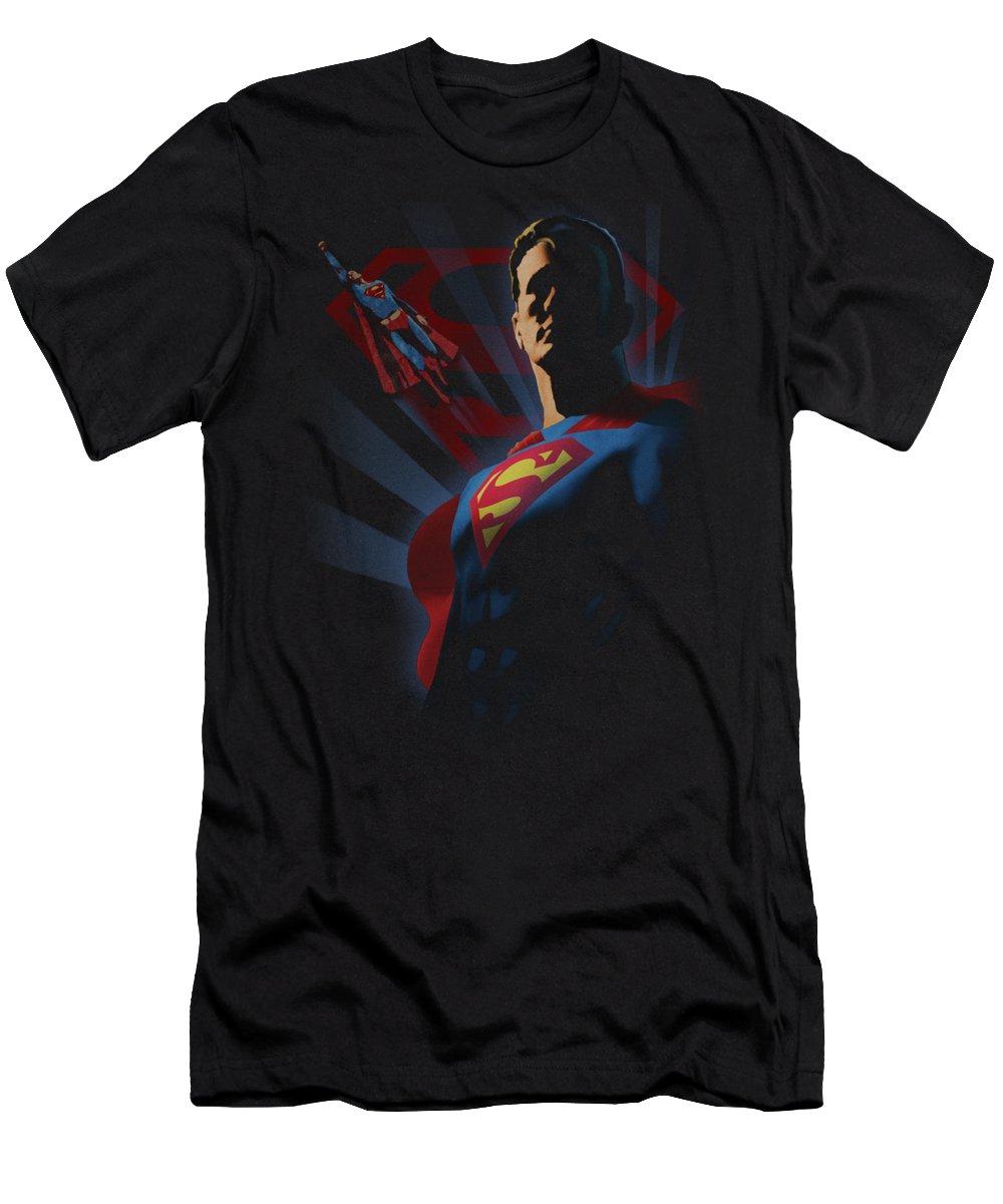 Superman T-Shirt featuring the digital art Superman - Super Deco by Brand A