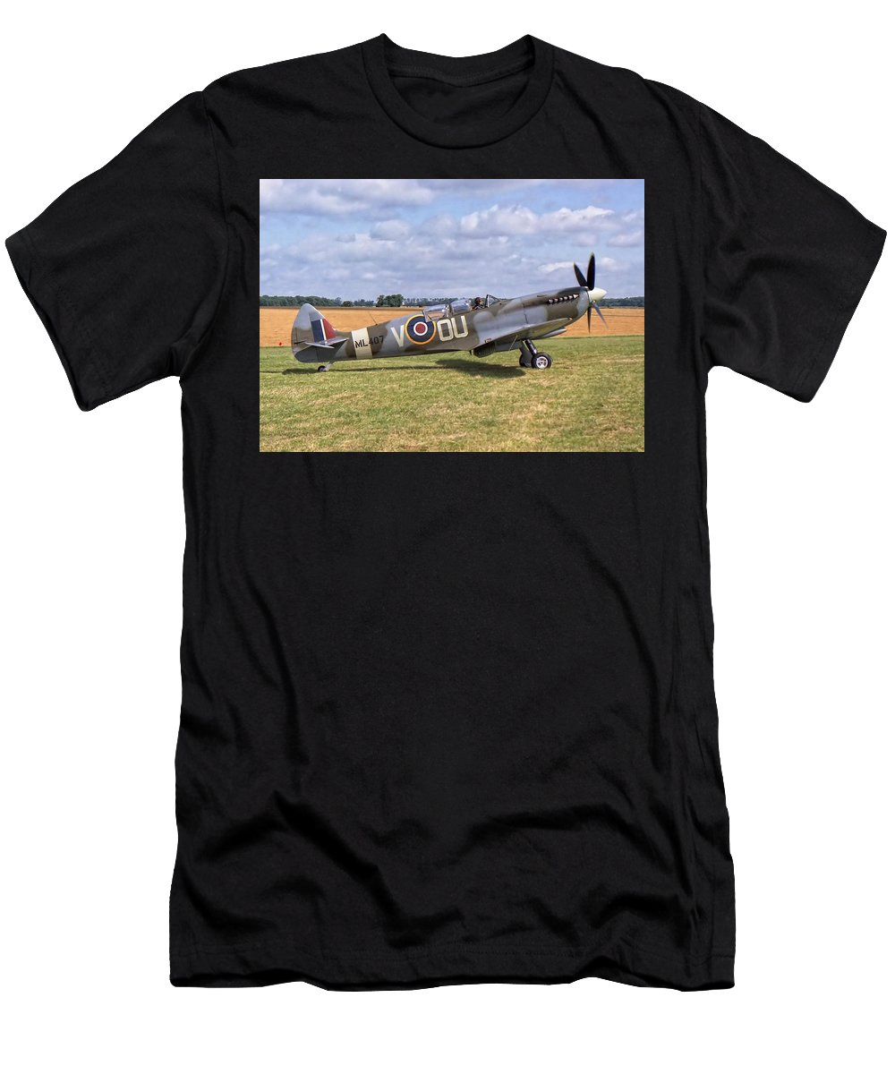 Badminton Men's T-Shirt (Athletic Fit) featuring the photograph Supermarine Spitfire T9 by Paul Gulliver