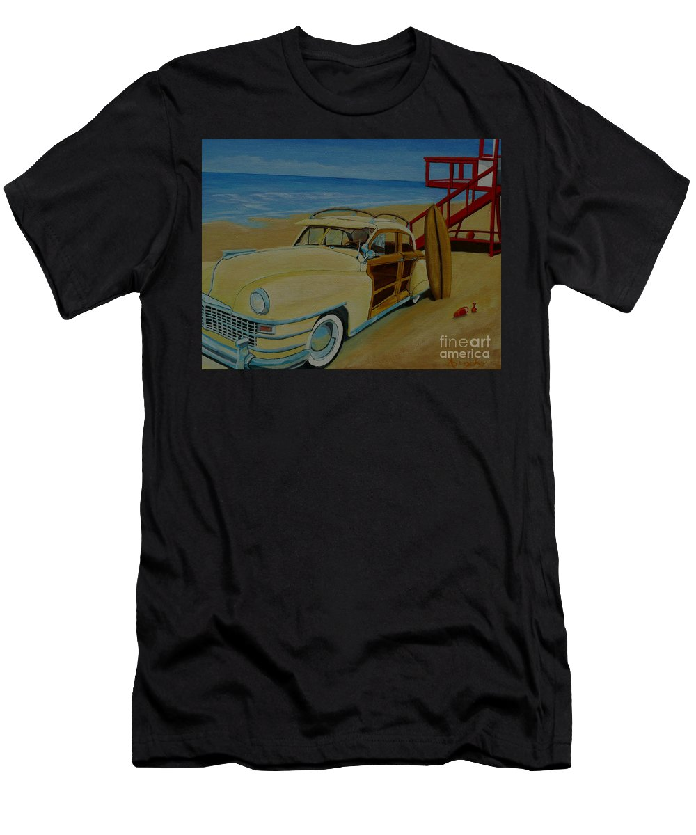 Woody Men's T-Shirt (Athletic Fit) featuring the painting Surfers Woody by Anthony Dunphy
