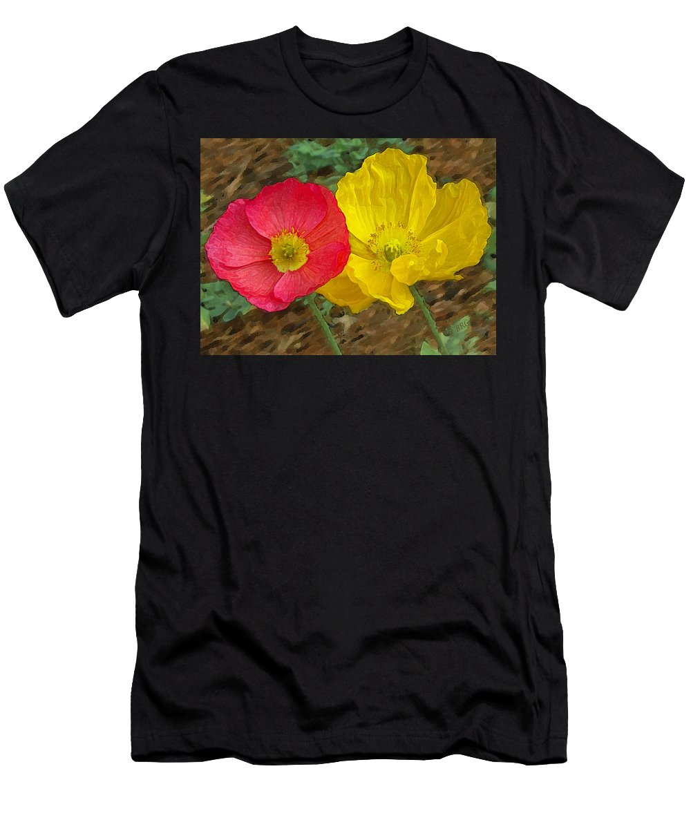 Iceland Poppies Men's T-Shirt (Athletic Fit) featuring the photograph Surprised Poppies by Ben and Raisa Gertsberg